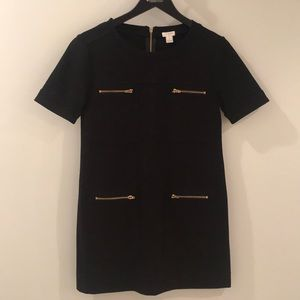 J Crew Black Short Sleeve Dress with Zippers